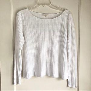 Eileen Fischer White Ribbed Crew Neck Sweater